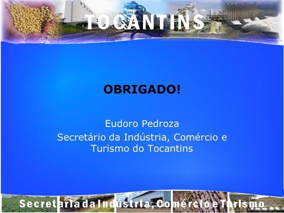 OBRIGADO! Eudoro Pedroza Secretário da Indústria, Comércio e Turismo do Tocantins