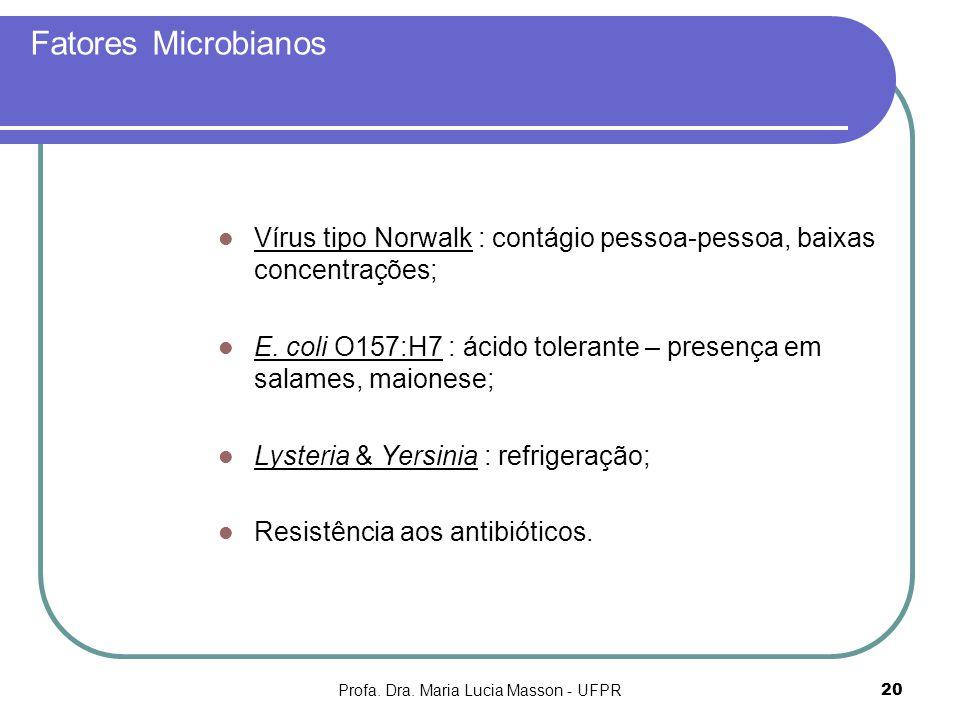 Profa. Dra. Maria Lucia Masson - UFPR20 Fatores Microbianos Vírus tipo Norwalk : contágio pessoa-pessoa, baixas concentrações; E. coli O157:H7 : ácido