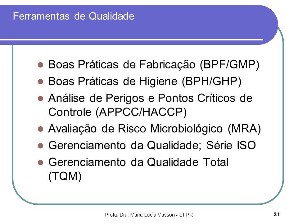 Profa. Dra. Maria Lucia Masson - UFPR31 Ferramentas de Qualidade Boas Práticas de Fabricação (BPF/GMP) Boas Práticas de Higiene (BPH/GHP) Análise de P