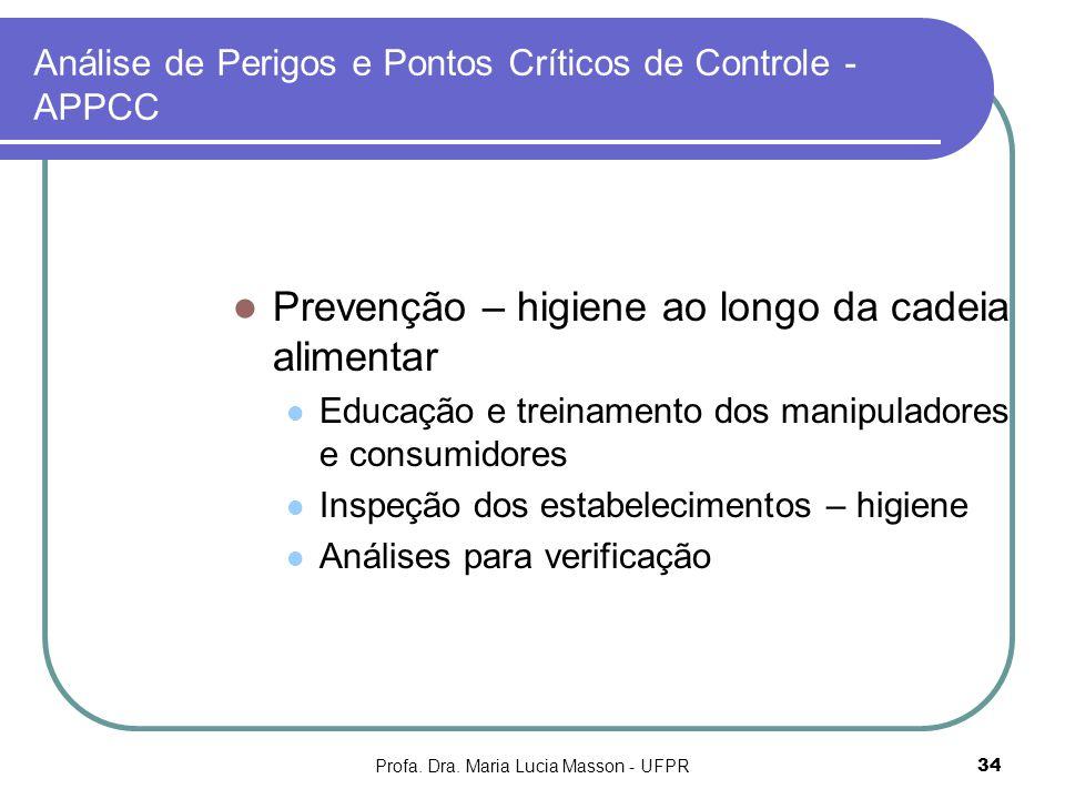 Profa. Dra. Maria Lucia Masson - UFPR34 Análise de Perigos e Pontos Críticos de Controle - APPCC Prevenção – higiene ao longo da cadeia alimentar Educ