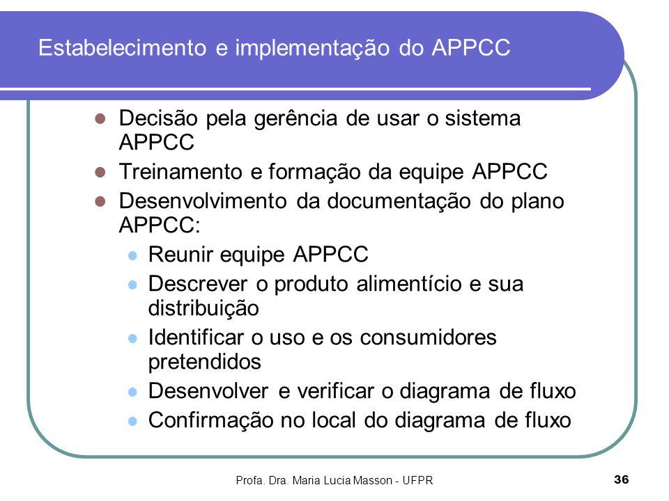 Profa. Dra. Maria Lucia Masson - UFPR36 Estabelecimento e implementação do APPCC Decisão pela gerência de usar o sistema APPCC Treinamento e formação