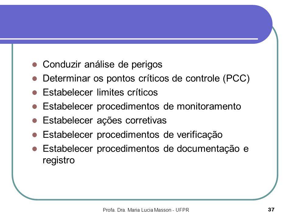 Profa. Dra. Maria Lucia Masson - UFPR37 Conduzir análise de perigos Determinar os pontos críticos de controle (PCC) Estabelecer limites críticos Estab