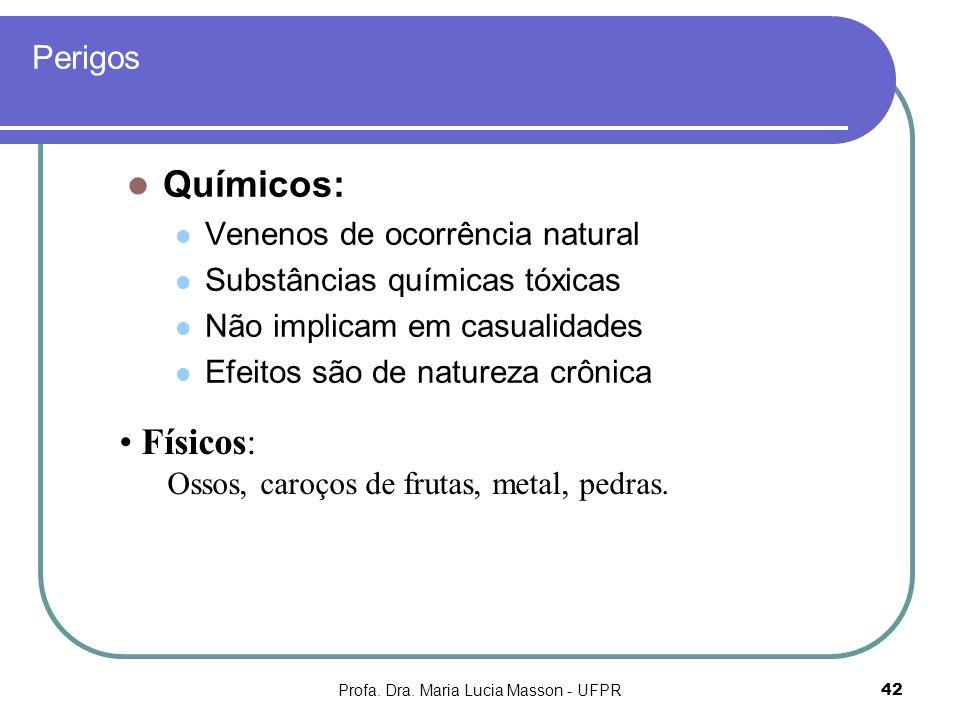Profa. Dra. Maria Lucia Masson - UFPR42 Perigos Químicos: Venenos de ocorrência natural Substâncias químicas tóxicas Não implicam em casualidades Efei