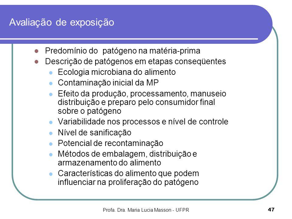 Profa. Dra. Maria Lucia Masson - UFPR47 Avaliação de exposição Predomínio do patógeno na matéria-prima Descrição de patógenos em etapas conseqüentes E