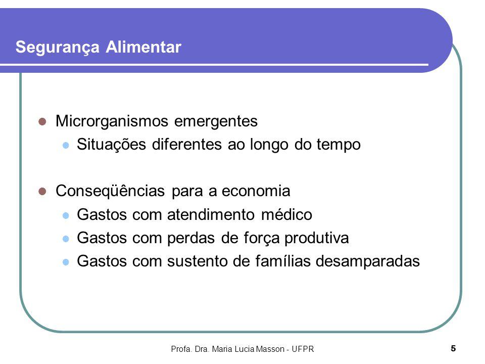Profa. Dra. Maria Lucia Masson - UFPR5 Segurança Alimentar Microrganismos emergentes Situações diferentes ao longo do tempo Conseqüências para a econo