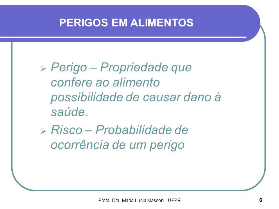 Profa. Dra. Maria Lucia Masson - UFPR6 Perigo – Propriedade que confere ao alimento possibilidade de causar dano à saúde. Risco – Probabilidade de oco