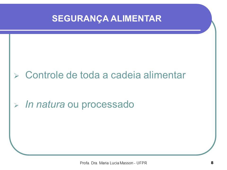 Profa. Dra. Maria Lucia Masson - UFPR8 Controle de toda a cadeia alimentar In natura ou processado SEGURANÇA ALIMENTAR