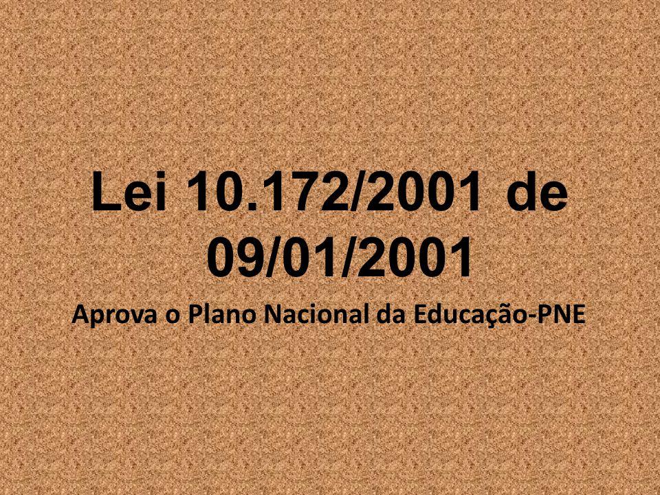 Lei 10.172/2001 de 09/01/2001 Aprova o Plano Nacional da Educação-PNE