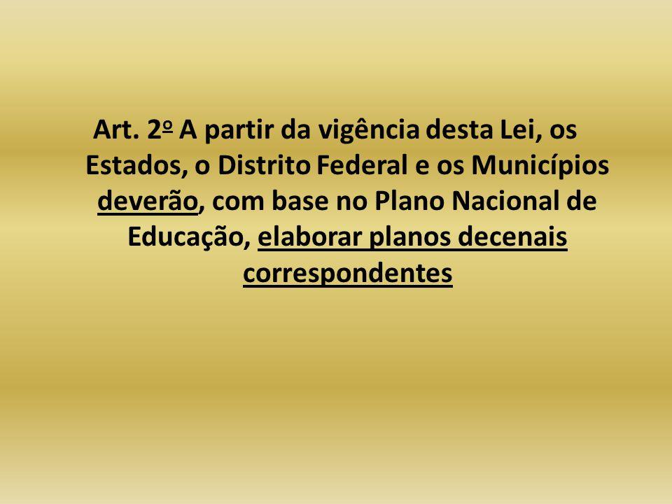 Art. 2 o A partir da vigência desta Lei, os Estados, o Distrito Federal e os Municípios deverão, com base no Plano Nacional de Educação, elaborar plan