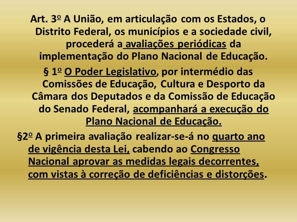 Art. 3 o A União, em articulação com os Estados, o Distrito Federal, os municípios e a sociedade civil, procederá a avaliações periódicas da implement