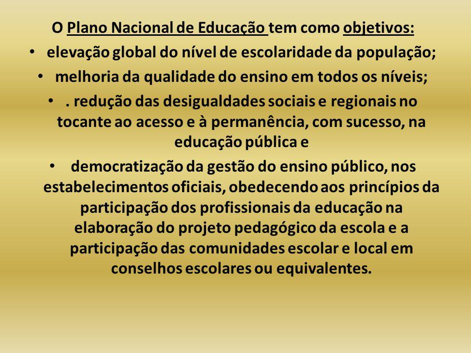 O Plano Nacional de Educação tem como objetivos: elevação global do nível de escolaridade da população; melhoria da qualidade do ensino em todos os ní