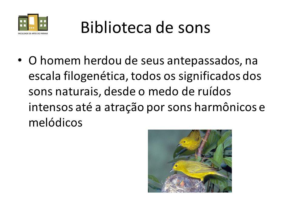 Biblioteca de sons O homem herdou de seus antepassados, na escala filogenética, todos os significados dos sons naturais, desde o medo de ruídos intens
