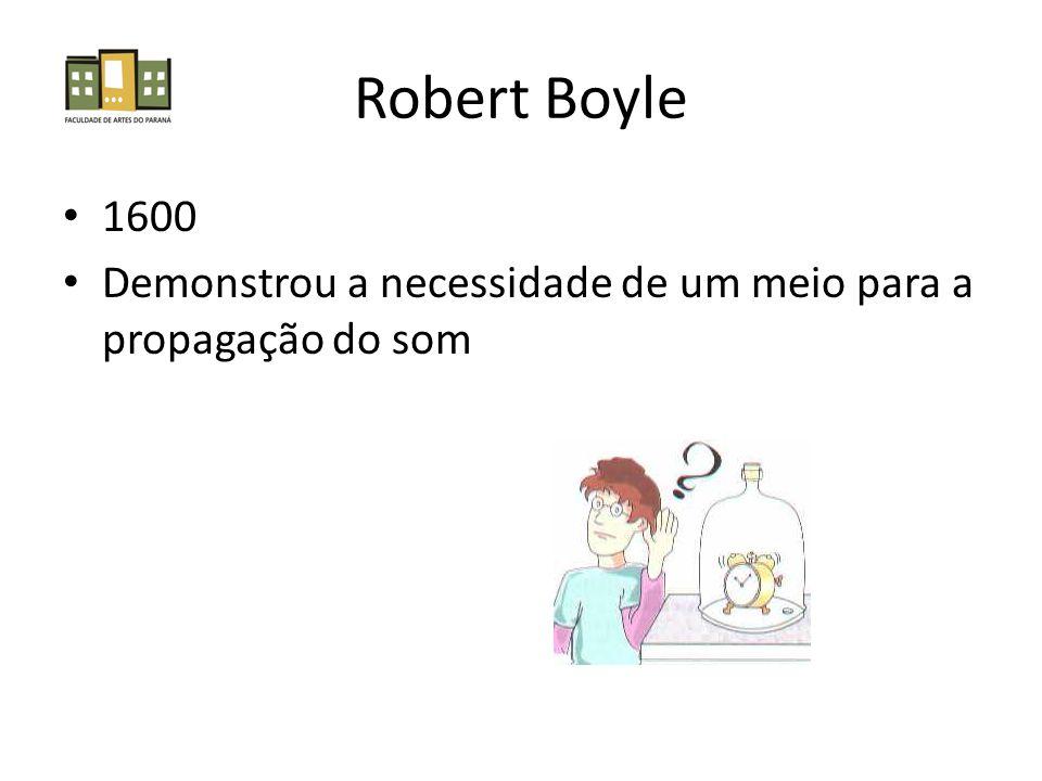 Robert Boyle 1600 Demonstrou a necessidade de um meio para a propagação do som