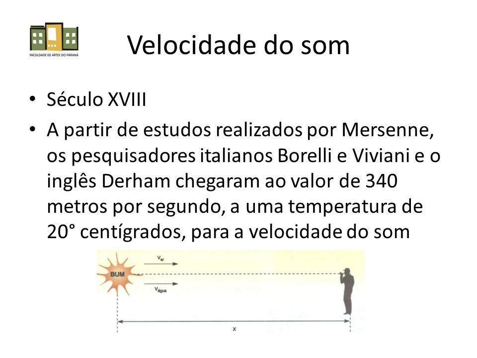 Velocidade do som Século XVIII A partir de estudos realizados por Mersenne, os pesquisadores italianos Borelli e Viviani e o inglês Derham chegaram ao valor de 340 metros por segundo, a uma temperatura de 20° centígrados, para a velocidade do som