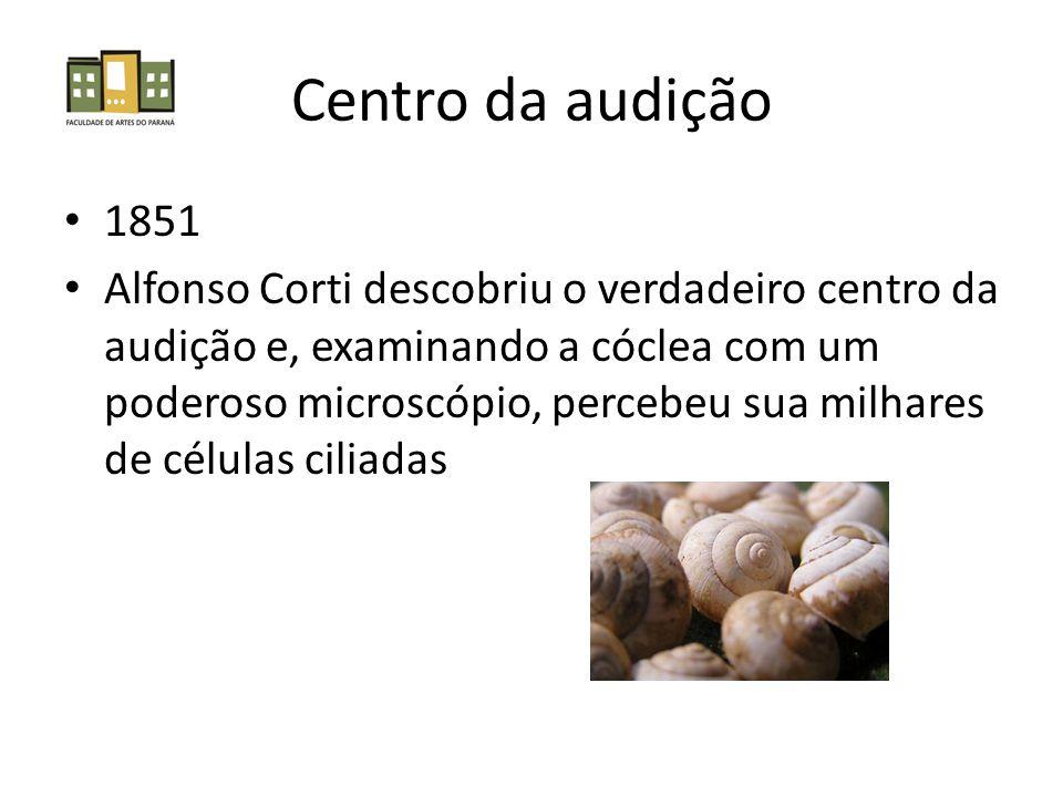 Centro da audição 1851 Alfonso Corti descobriu o verdadeiro centro da audição e, examinando a cóclea com um poderoso microscópio, percebeu sua milhare