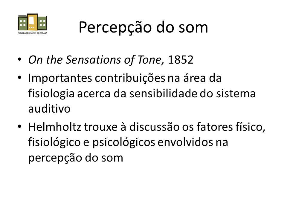 Percepção do som On the Sensations of Tone, 1852 Importantes contribuições na área da fisiologia acerca da sensibilidade do sistema auditivo Helmholtz trouxe à discussão os fatores físico, fisiológico e psicológicos envolvidos na percepção do som