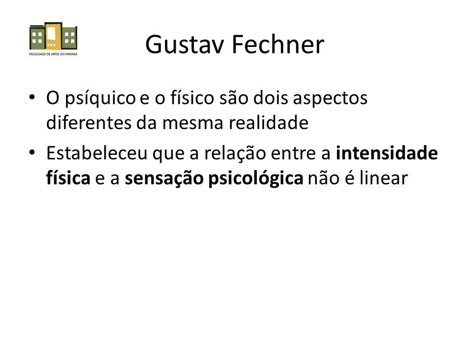 Gustav Fechner O psíquico e o físico são dois aspectos diferentes da mesma realidade Estabeleceu que a relação entre a intensidade física e a sensação psicológica não é linear