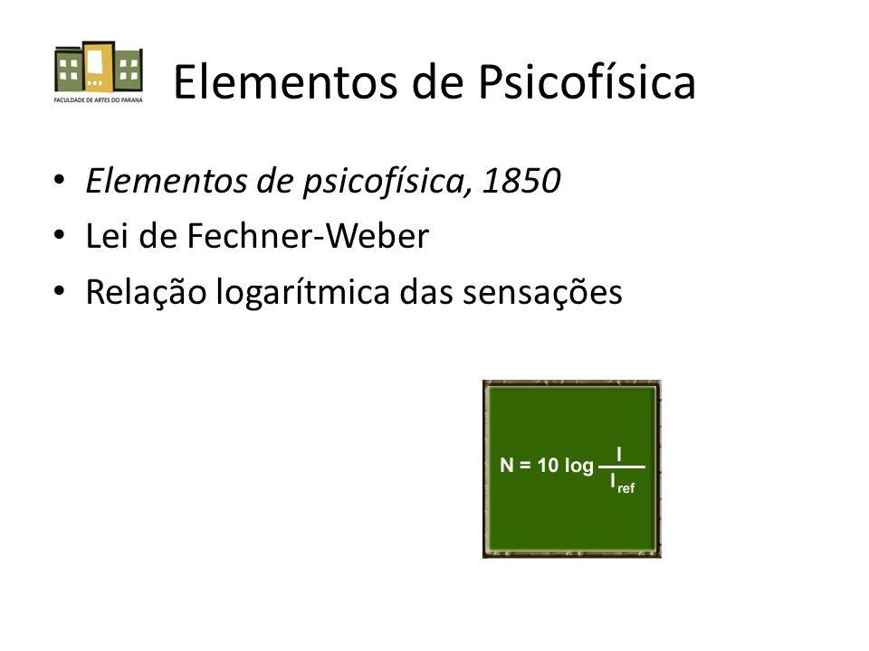 Elementos de Psicofísica Elementos de psicofísica, 1850 Lei de Fechner-Weber Relação logarítmica das sensações