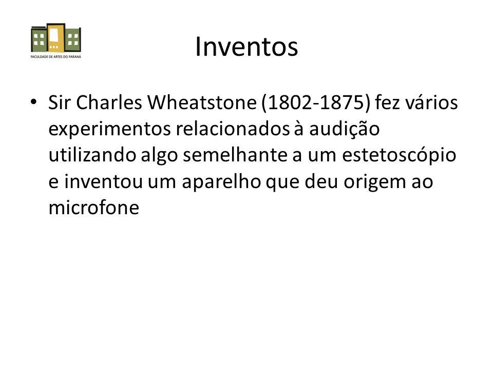 Inventos Sir Charles Wheatstone (1802-1875) fez vários experimentos relacionados à audição utilizando algo semelhante a um estetoscópio e inventou um