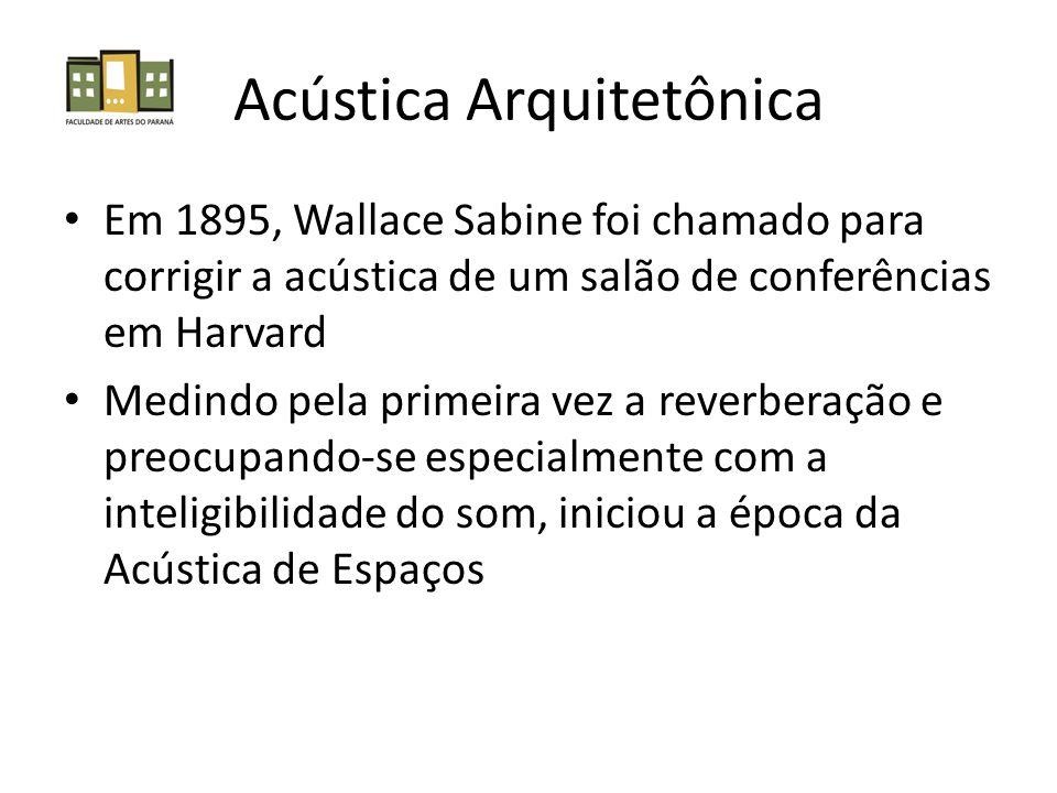 Acústica Arquitetônica Em 1895, Wallace Sabine foi chamado para corrigir a acústica de um salão de conferências em Harvard Medindo pela primeira vez a reverberação e preocupando-se especialmente com a inteligibilidade do som, iniciou a época da Acústica de Espaços