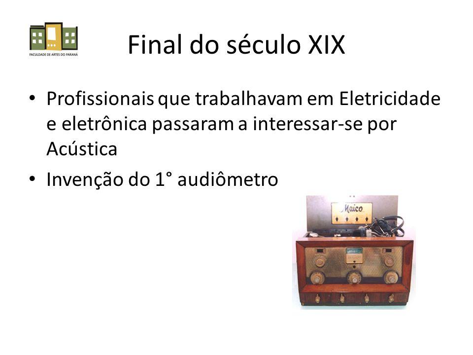 Final do século XIX Profissionais que trabalhavam em Eletricidade e eletrônica passaram a interessar-se por Acústica Invenção do 1° audiômetro