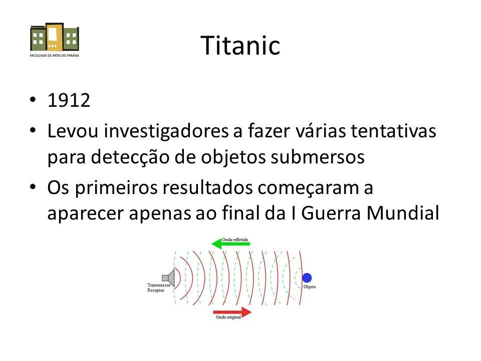 Titanic 1912 Levou investigadores a fazer várias tentativas para detecção de objetos submersos Os primeiros resultados começaram a aparecer apenas ao final da I Guerra Mundial