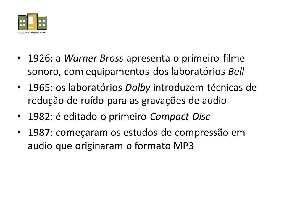 1926: a Warner Bross apresenta o primeiro filme sonoro, com equipamentos dos laboratórios Bell 1965: os laboratórios Dolby introduzem técnicas de redução de ruído para as gravações de audio 1982: é editado o primeiro Compact Disc 1987: começaram os estudos de compressão em audio que originaram o formato MP3