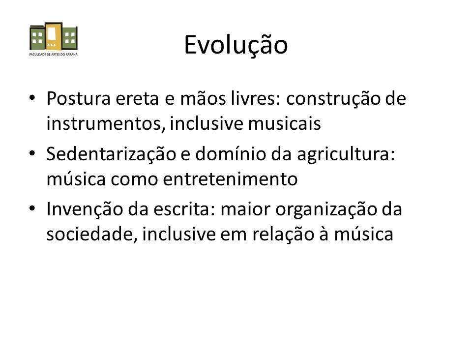 Evolução Postura ereta e mãos livres: construção de instrumentos, inclusive musicais Sedentarização e domínio da agricultura: música como entretenimento Invenção da escrita: maior organização da sociedade, inclusive em relação à música