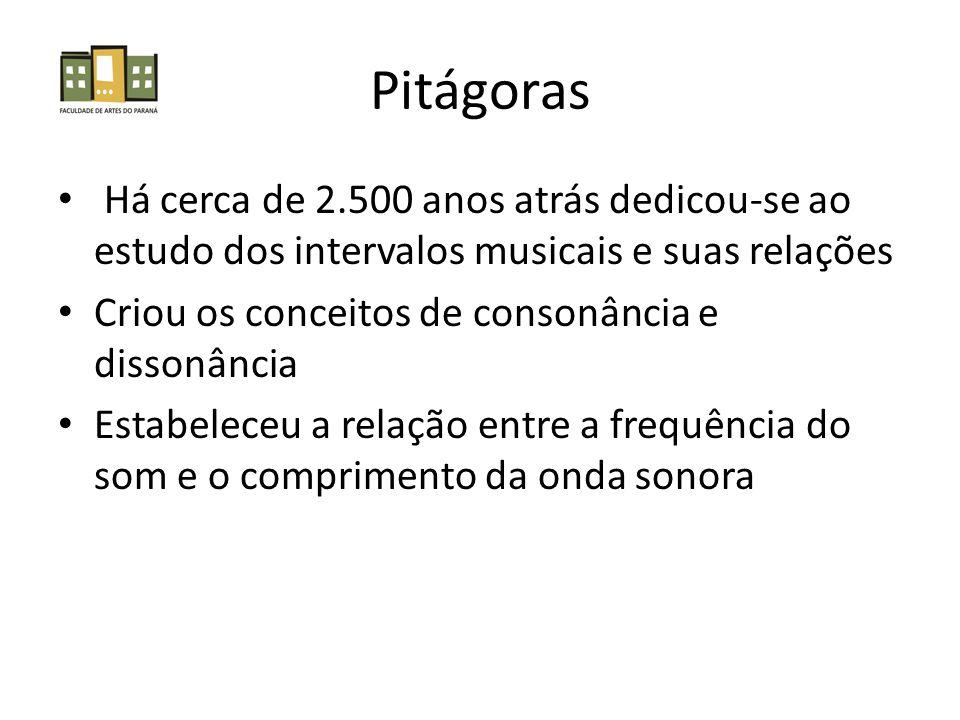 Pitágoras Há cerca de 2.500 anos atrás dedicou-se ao estudo dos intervalos musicais e suas relações Criou os conceitos de consonância e dissonância Estabeleceu a relação entre a frequência do som e o comprimento da onda sonora