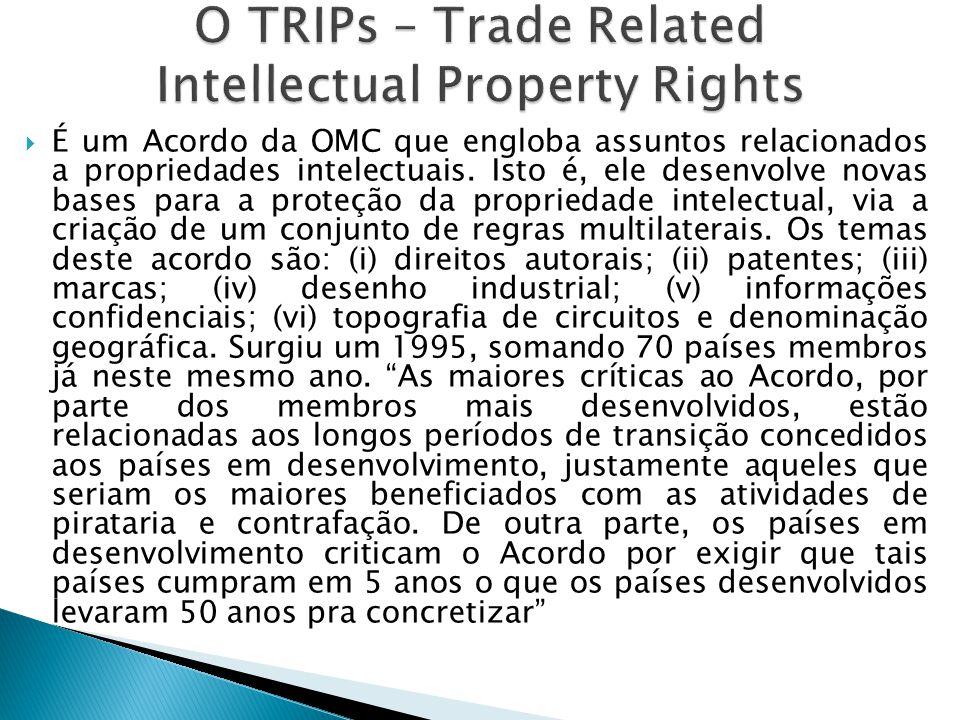 É um Acordo da OMC que engloba assuntos relacionados a propriedades intelectuais. Isto é, ele desenvolve novas bases para a proteção da propriedade in