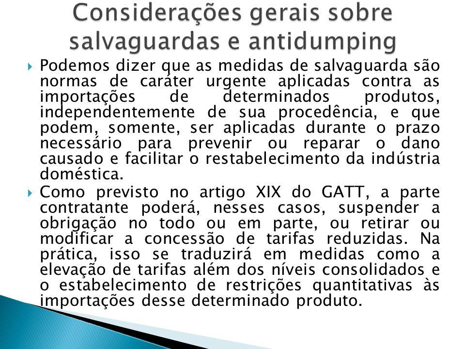Podemos dizer que as medidas de salvaguarda são normas de caráter urgente aplicadas contra as importações de determinados produtos, independentemente