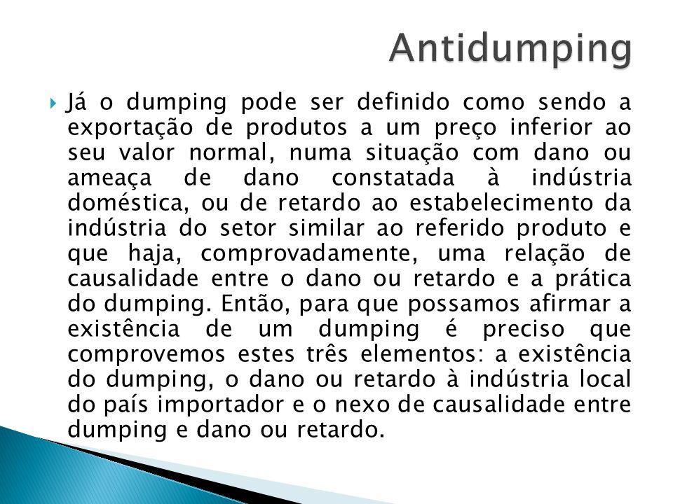 Já o dumping pode ser definido como sendo a exportação de produtos a um preço inferior ao seu valor normal, numa situação com dano ou ameaça de dano c