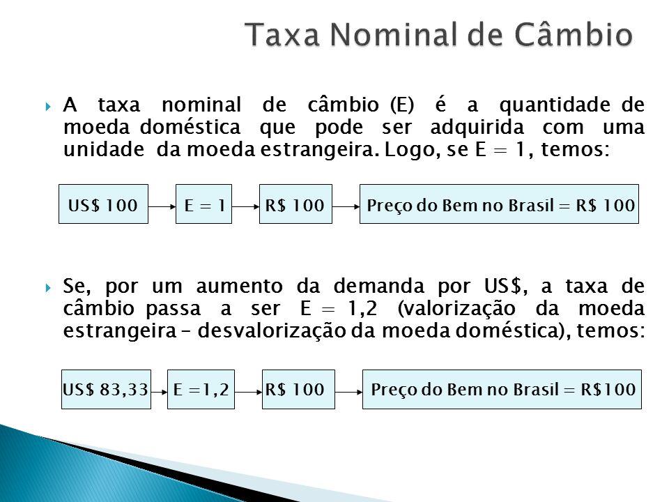 A taxa nominal de câmbio (E) é a quantidade de moeda doméstica que pode ser adquirida com uma unidade da moeda estrangeira. Logo, se E = 1, temos: Se,