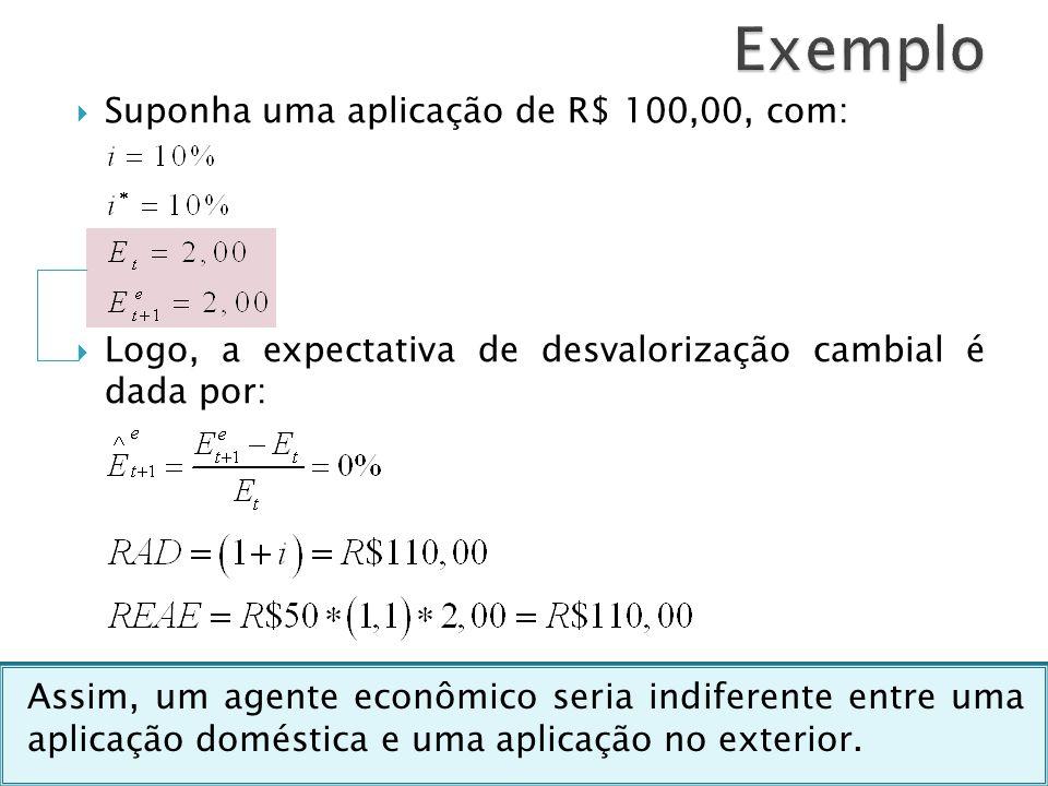 Suponha uma aplicação de R$ 100,00, com: Logo, a expectativa de desvalorização cambial é dada por: Assim, um agente econômico seria indiferente entre