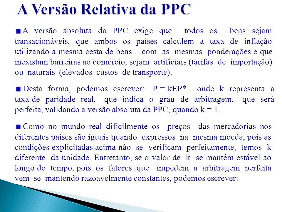 A versão absoluta da PPC exige que todos os bens sejam transacionáveis, que ambos os países calculem a taxa de inflação utilizando a mesma cesta de be