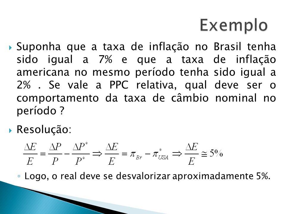 Suponha que a taxa de inflação no Brasil tenha sido igual a 7% e que a taxa de inflação americana no mesmo período tenha sido igual a 2%. Se vale a PP