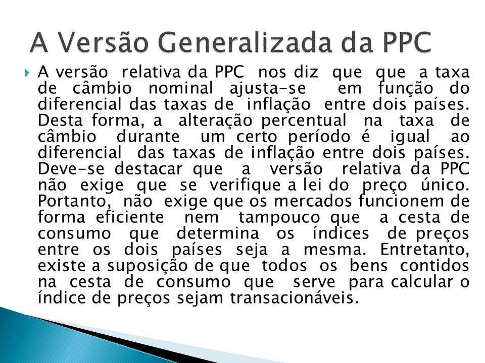 A versão relativa da PPC nos diz que que a taxa de câmbio nominal ajusta-se em função do diferencial das taxas de inflação entre dois países. Desta fo