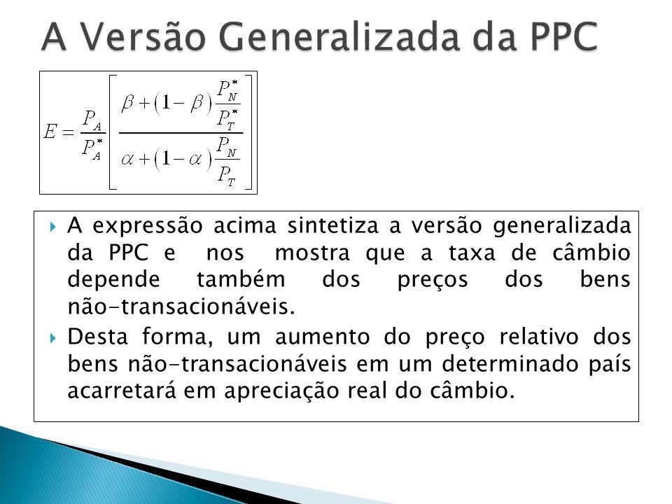 A expressão acima sintetiza a versão generalizada da PPC e nos mostra que a taxa de câmbio depende também dos preços dos bens não-transacionáveis. Des