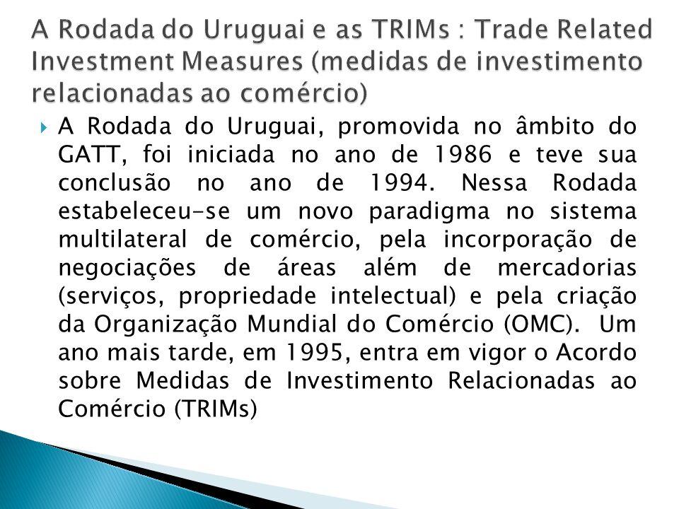 A Rodada do Uruguai, promovida no âmbito do GATT, foi iniciada no ano de 1986 e teve sua conclusão no ano de 1994. Nessa Rodada estabeleceu-se um novo