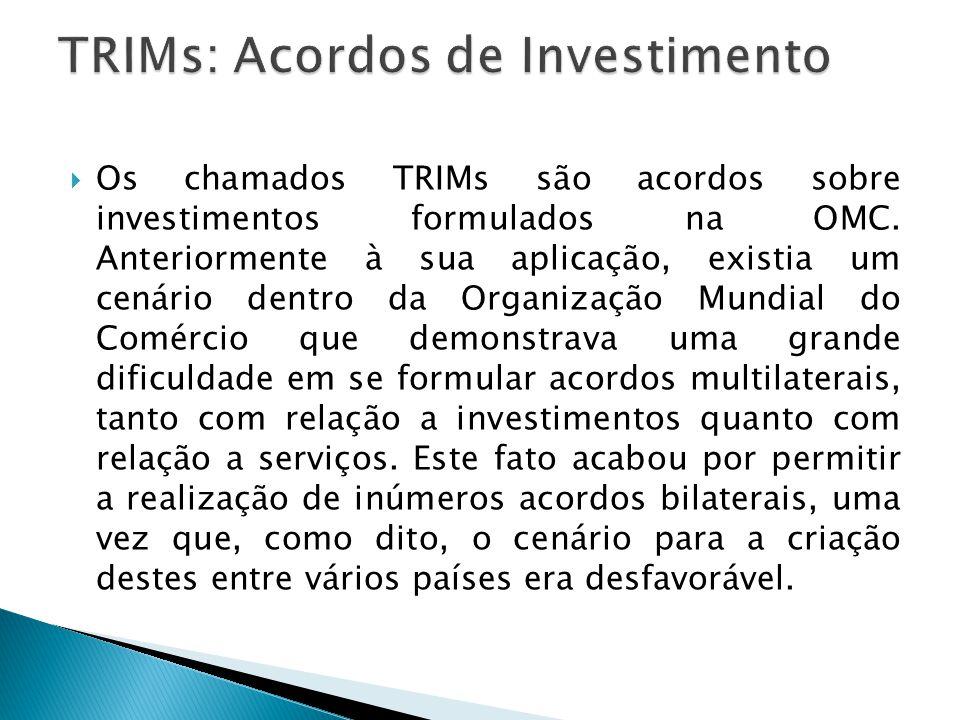 Os chamados TRIMs são acordos sobre investimentos formulados na OMC. Anteriormente à sua aplicação, existia um cenário dentro da Organização Mundial d