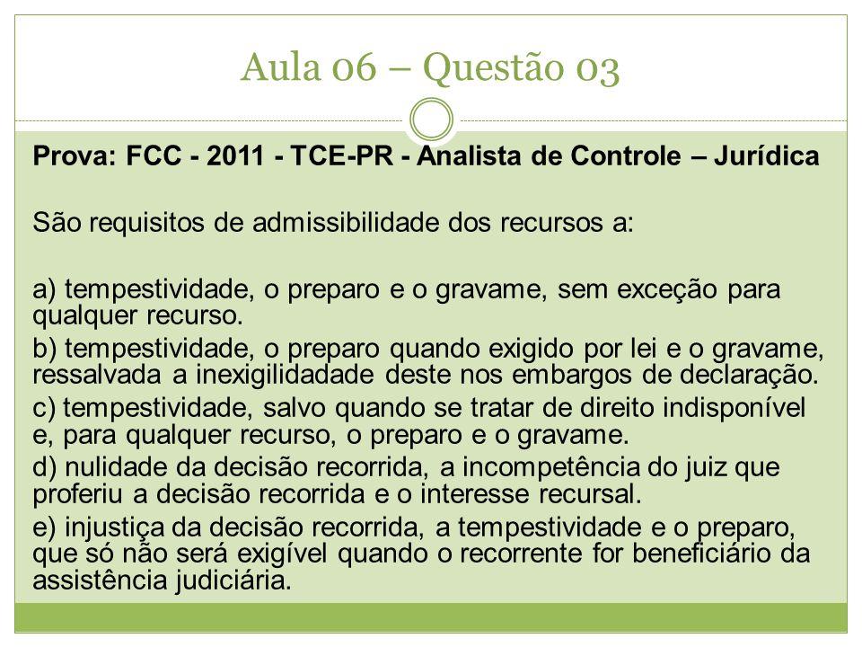 Aula 06 – Questão 03 Prova: FCC - 2011 - TCE-PR - Analista de Controle – Jurídica São requisitos de admissibilidade dos recursos a: a) tempestividade,