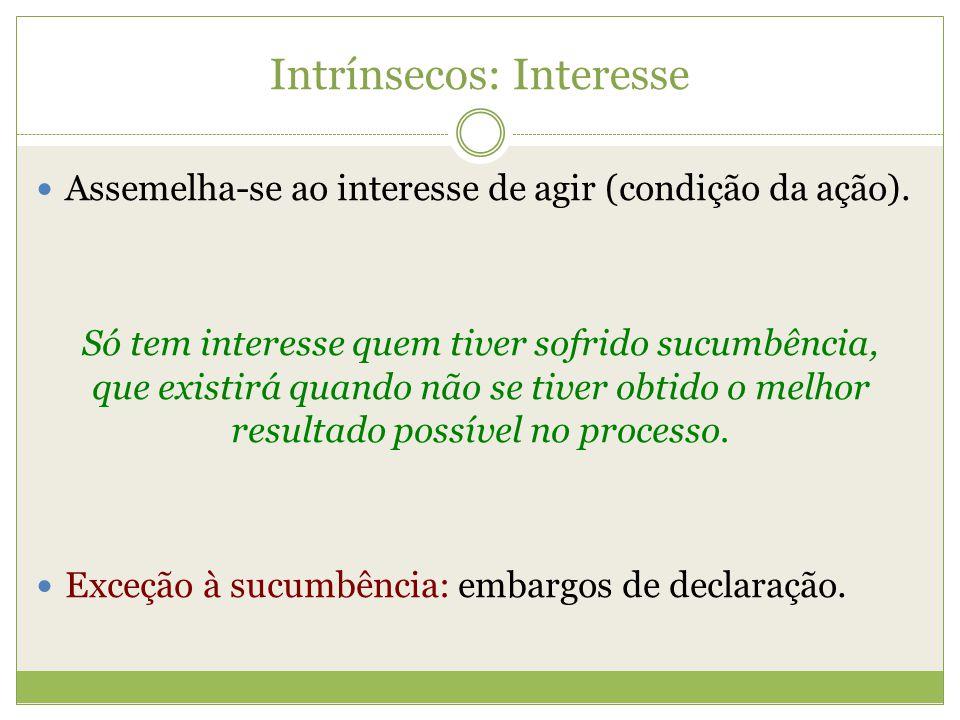 Intrínsecos: Interesse Assemelha-se ao interesse de agir (condição da ação). Só tem interesse quem tiver sofrido sucumbência, que existirá quando não