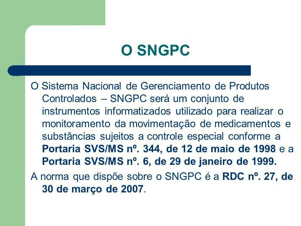 O SNGPC O Sistema Nacional de Gerenciamento de Produtos Controlados – SNGPC será um conjunto de instrumentos informatizados utilizado para realizar o