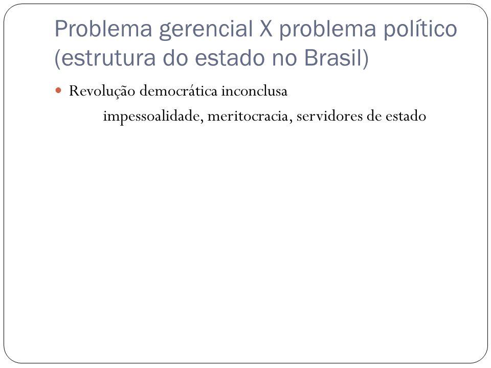 Problema gerencial X problema político (estrutura do estado no Brasil) Revolução democrática inconclusa impessoalidade, meritocracia, servidores de estado
