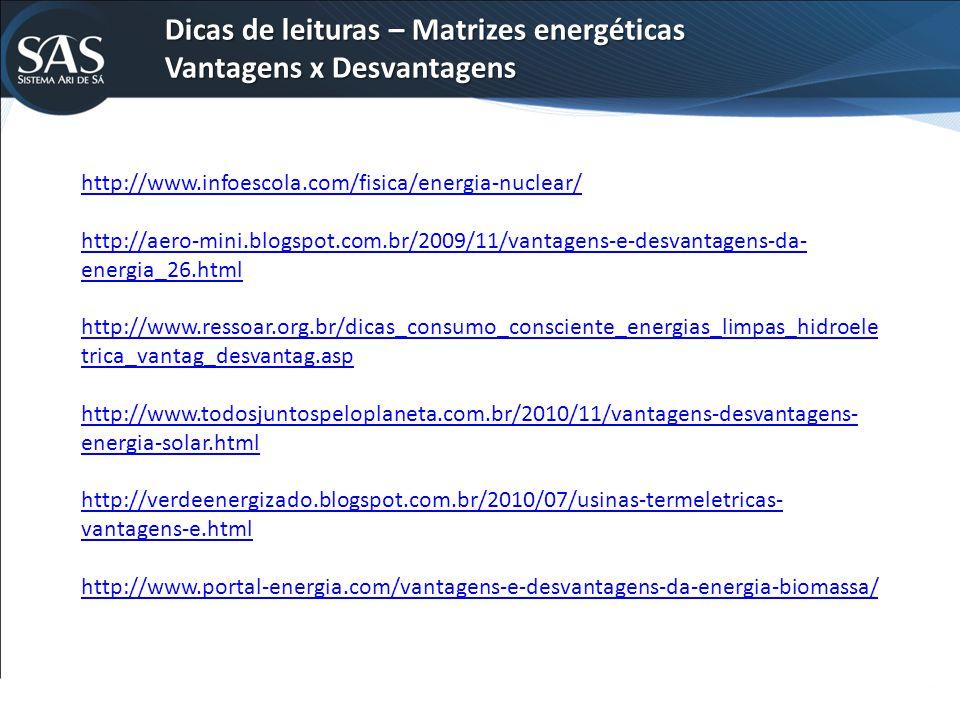 Dicas de leituras – Matrizes energéticas Vantagens x Desvantagens http://www.infoescola.com/fisica/energia-nuclear/ http://aero-mini.blogspot.com.br/2009/11/vantagens-e-desvantagens-da- energia_26.html http://www.ressoar.org.br/dicas_consumo_consciente_energias_limpas_hidroele trica_vantag_desvantag.asp http://www.todosjuntospeloplaneta.com.br/2010/11/vantagens-desvantagens- energia-solar.html http://verdeenergizado.blogspot.com.br/2010/07/usinas-termeletricas- vantagens-e.html http://www.portal-energia.com/vantagens-e-desvantagens-da-energia-biomassa/