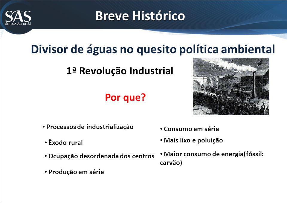 Breve Histórico Divisor de águas no quesito política ambiental 1ª Revolução Industrial Por que? Processos de industrialização Êxodo rural Ocupação des