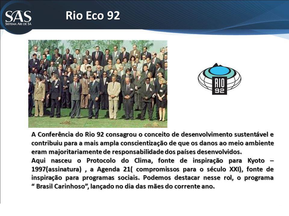 Rio Eco 92 A Conferência do Rio 92 consagrou o conceito de desenvolvimento sustentável e contribuiu para a mais ampla conscientização de que os danos ao meio ambiente eram majoritariamente de responsabilidade dos países desenvolvidos.