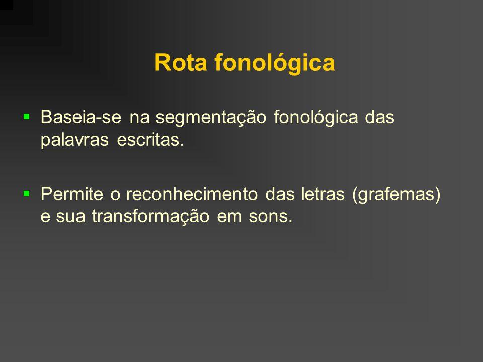Rota fonológica Baseia-se na segmentação fonológica das palavras escritas. Permite o reconhecimento das letras (grafemas) e sua transformação em sons.
