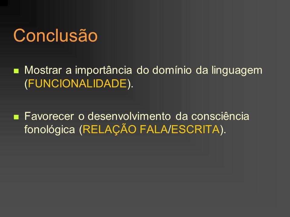 Conclusão Mostrar a importância do domínio da linguagem (FUNCIONALIDADE). Favorecer o desenvolvimento da consciência fonológica (RELAÇÃO FALA/ESCRITA)