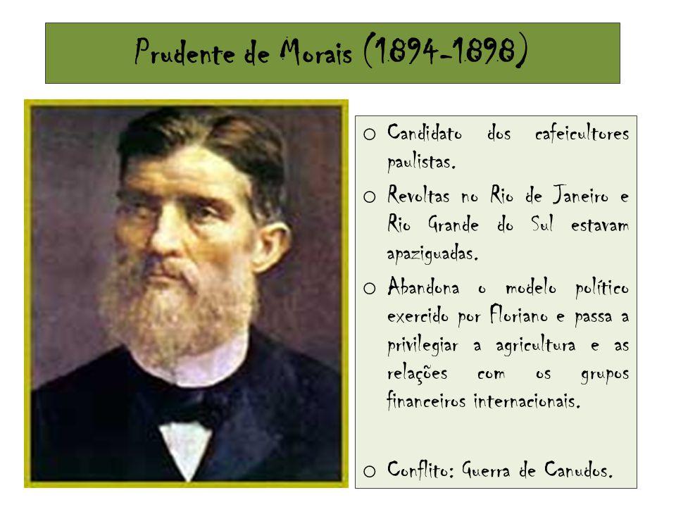 Prudente de Morais (1894-1898) o Candidato dos cafeicultores paulistas. o Revoltas no Rio de Janeiro e Rio Grande do Sul estavam apaziguadas. o Abando
